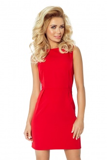 A classic dress with pleats at the waist - Red 103-2