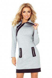 129-1 JUSTYNA dress with three zippers - gray + black zippers