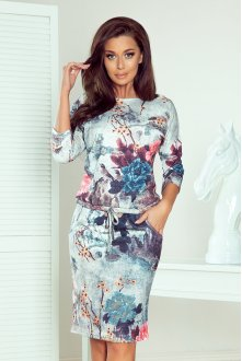 13-115 Sporty dress - flowers and birds on a gray background