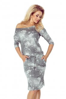 Sporty dress - viscose - gray jeans - flowers 13-57