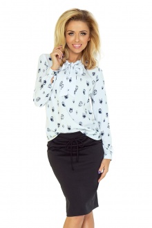 Blouse with bond - white - owls 140-2