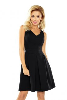 Dress with neckline and pockets - black 160-1