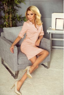 161-10 AGATA - dress with a collar - peach