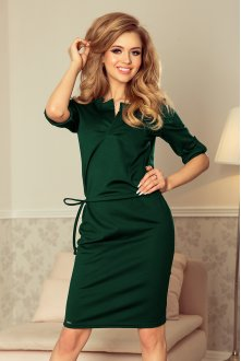 161-12 AGATA - dress with a collar - green