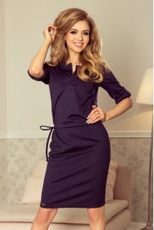 161-7 AGATA - dress with a collar - dark blue