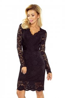Lace dress with neckline - black 170-1