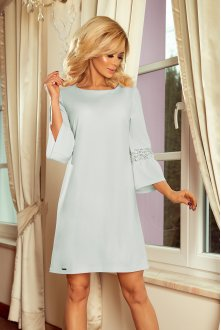 190-5 MARGARET dress with lace on the sleeves - blue