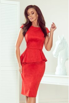 192-11 Elegant midi dress with frill - red