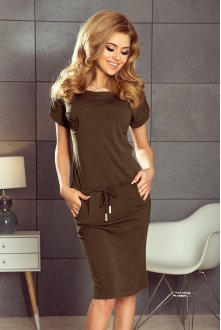 196-2 Sports dress with short sleeves and a pocket - KHAKI
