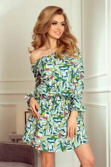 198-4 JULIE Dress with flounces on the sleeves - green toucans