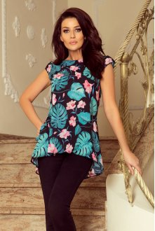 201-2 Airy blouse with two pockets - black + leaves