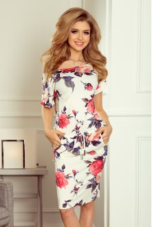 203-1 Sports dress with short sleeves, button and flap - red flowers