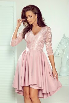 210-11 NICOLLE - dress with longer back with lace neckline - powder pink