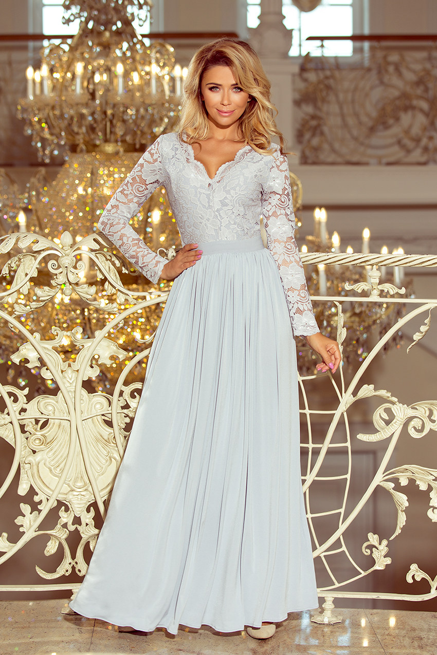7c38e6f202b7bd 214-2 MADLEN long dress with lace neckline and long sleeves - grey colour