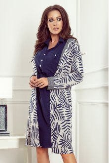 218-3 Coat with hood and pockets - blue leaves
