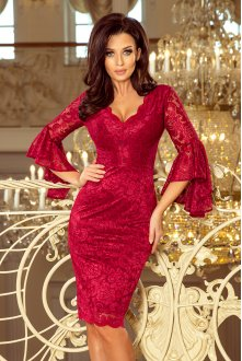 234-1 Lace dress with flared sleeves - burgundy color