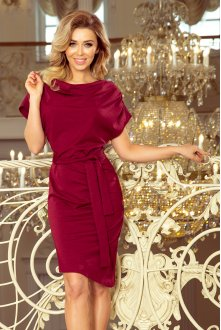 240-2 ROXI dress with asymmetrical skirt and belt - burgundy