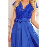 242-3 ANNA dress with neckline and lace - Royal Blue