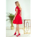 242-4 ANNA dress with neckline and lace - Red colour