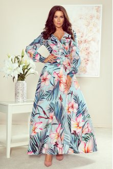 245-2 Long dress with frill and cleavage - pink flowers