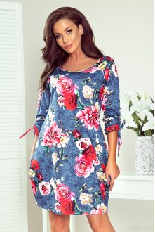 281-2 SOPHIE Comfortable Oversize dress - flowers on jeans
