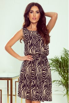 296-2 VICTORIA A trapezoidal dress with beige zebra