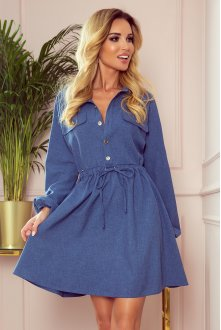 298-2 CLARA - Shirt dress with puffy sleeves - blue