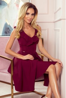 307-3 POLA dress with frills on the neckline - Burgundy color