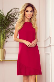 308-2 KARINE - trapezoidal dress with asymmetrical pleat - red