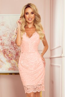 316-2 Lace dress with neckline - peach