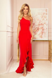 317-1 One shoulder long dress - red