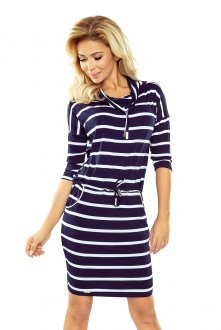 Sports dress with binding - navy blue stripes 44-16