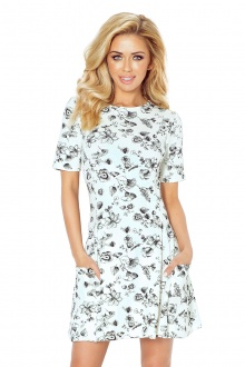 Contrafold dress with pockets - ecru 99-3