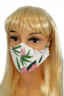 CV010 Reusable decorative masks - pink flowers - 100% cotton - 2 pieces