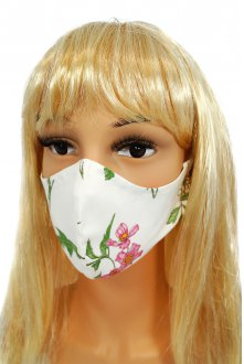 CV012 Reusable decorative masks - White with wild flowers - 100% cotton - 2 pieces