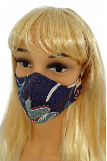 CV06 Reusable decorative masks - navy blue - 100% cotton - 2 pieces
