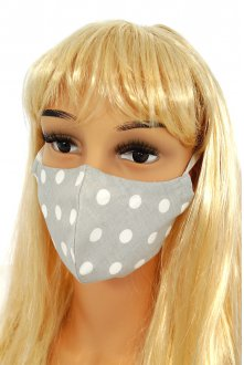 CV09 Reusable decorative masks - gray with polka dots - 100% cotton - 2 pieces