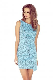 MM 004-5 Asymmetrical dress - Bright blue + black flowers - BIG SALE! %