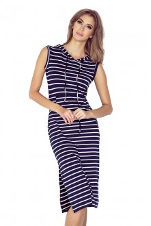 Dress with hood - long - stripes MM 012-1