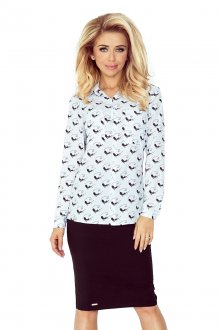 Shirt with pockets - white + black cats MM 018-5